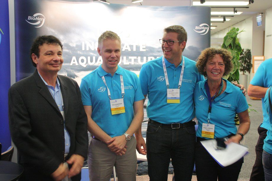 The Biomar team promoting the Algaprime feed at EAS. Image: Rob Fletcher.