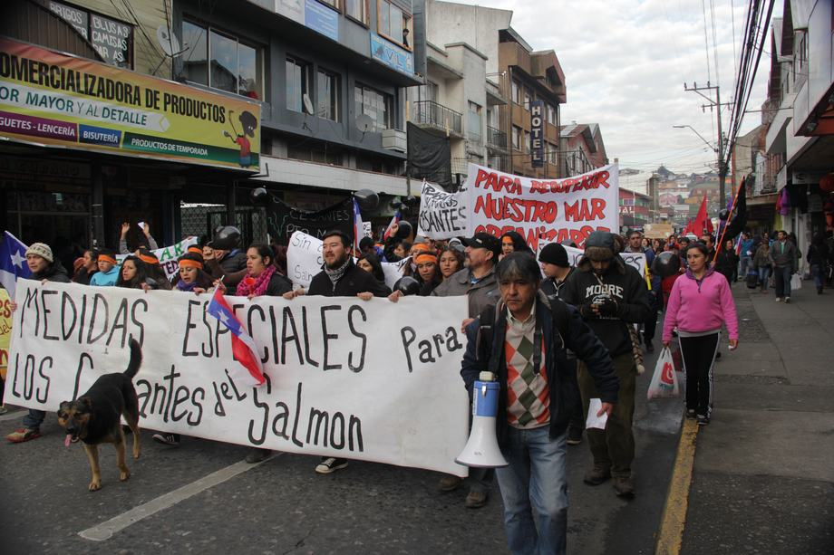 Demonstration of unemployed workers in Puerto Montt, Chile.