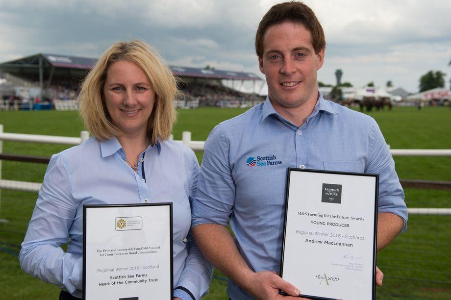 Victoria McDowell, Commercial Manager and Andrew MacLeannan, Site Manager Scottish Sea Farms.