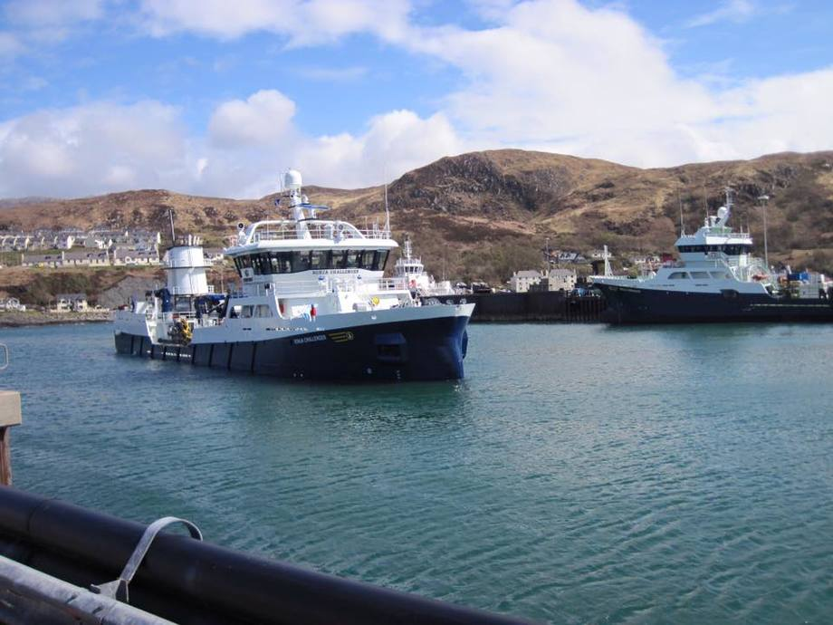 The Ronja Challenger (left) with her sister ship Ronja Commander, in Mallaig harbour