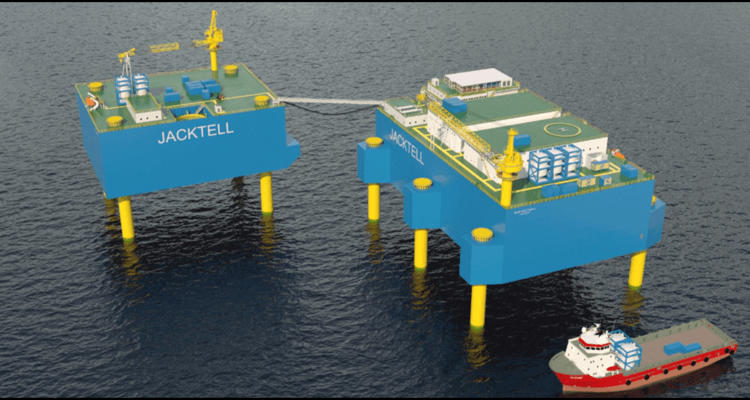 The Jacktell concept envisages growing 10,000 tonnes of salmon a year in tanks on a platform. Image: Jacktell