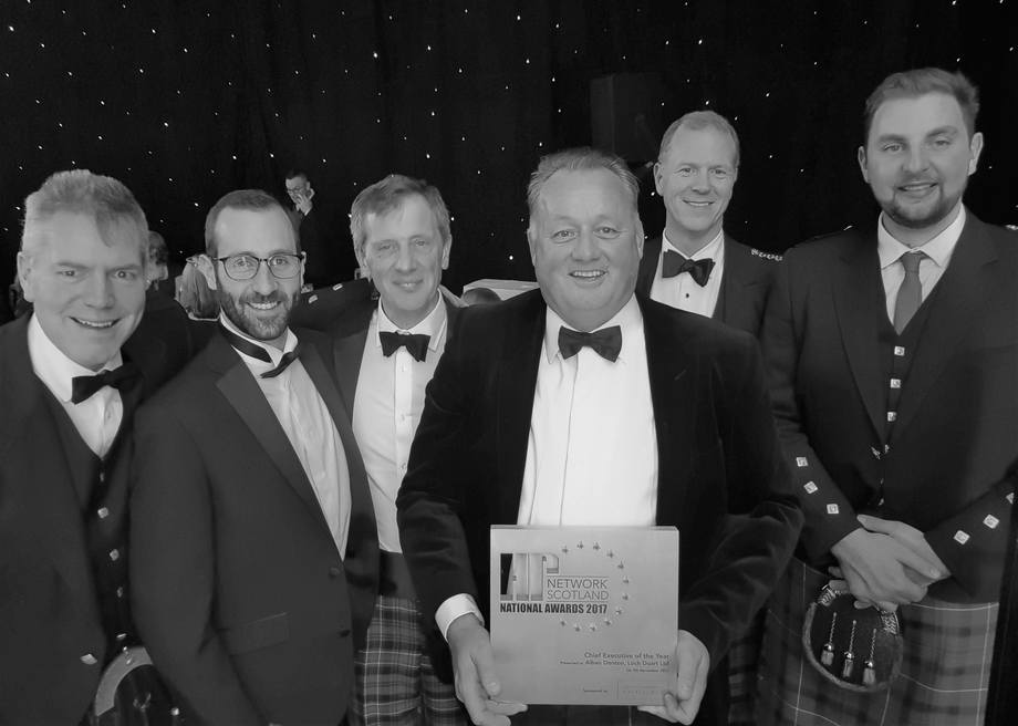 HR Network Scotland's Chief Executive of the Year, Alban Denton, with Loch Duart staff in Glasgow last night. Photo: Loch Duart
