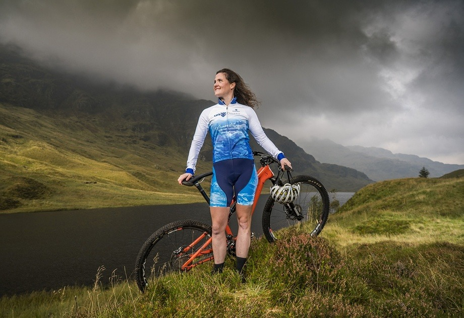 Mountain biker and Loch Duart brand ambassador Kerry MacPhee models her new Loch Duart cycling kit. Photo: Loch Duart