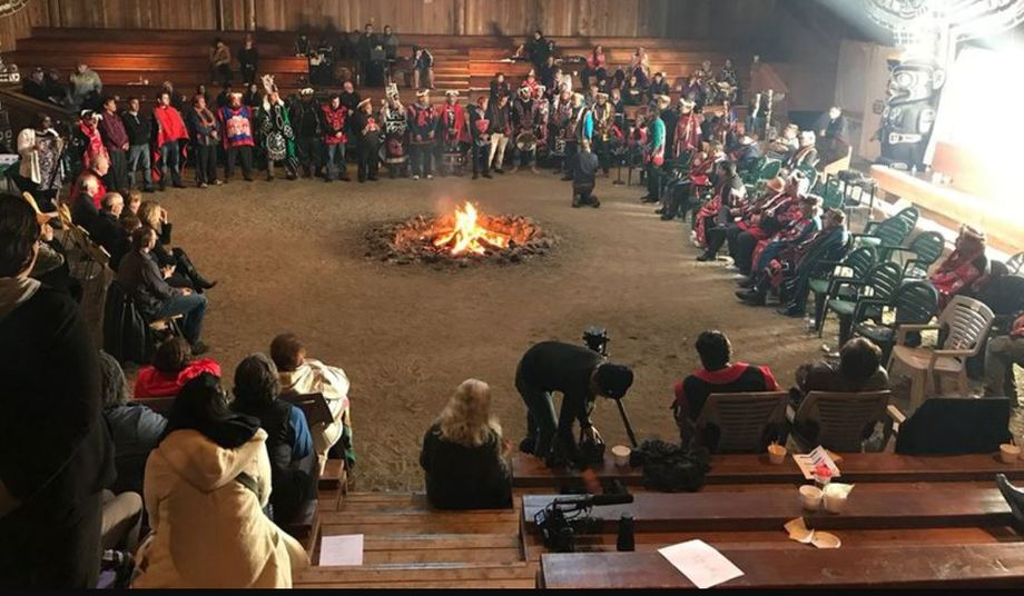 First Nations representatives unhappy at the restocking of the MH Canada farm meet with BC Premier John Horgan. Photo: Twitter/JJ Horgan