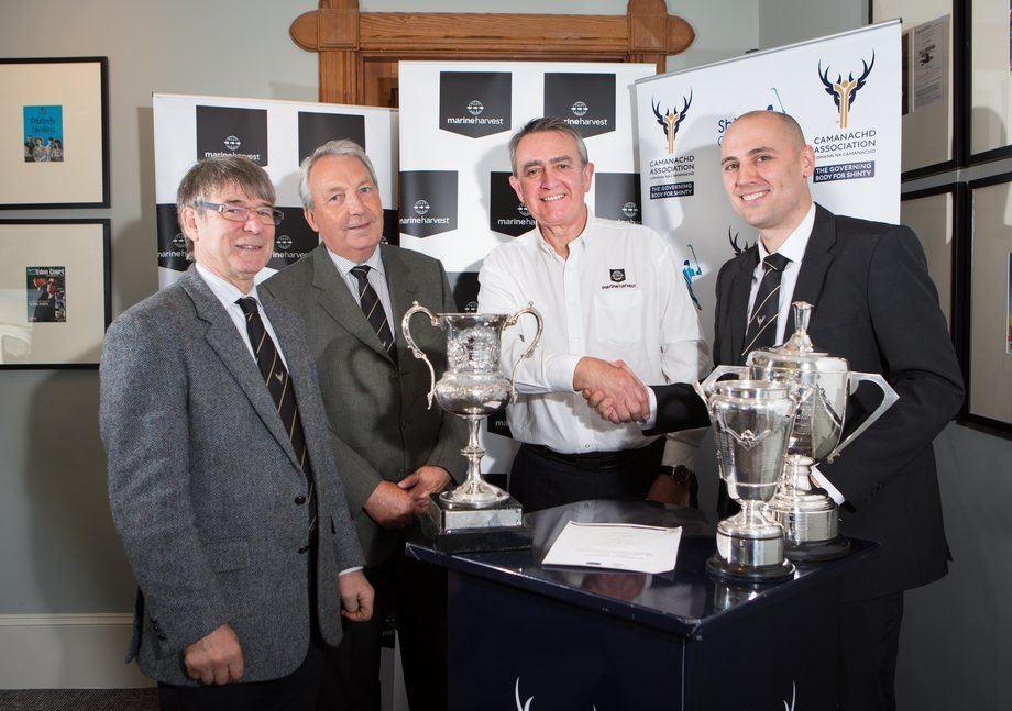 From left: CA president Jim Barr; CA president-elect Keith Loades;  MH Scotland's Steve Bracken; and CA CEO Derek Keir. Photo: Camanachd Association