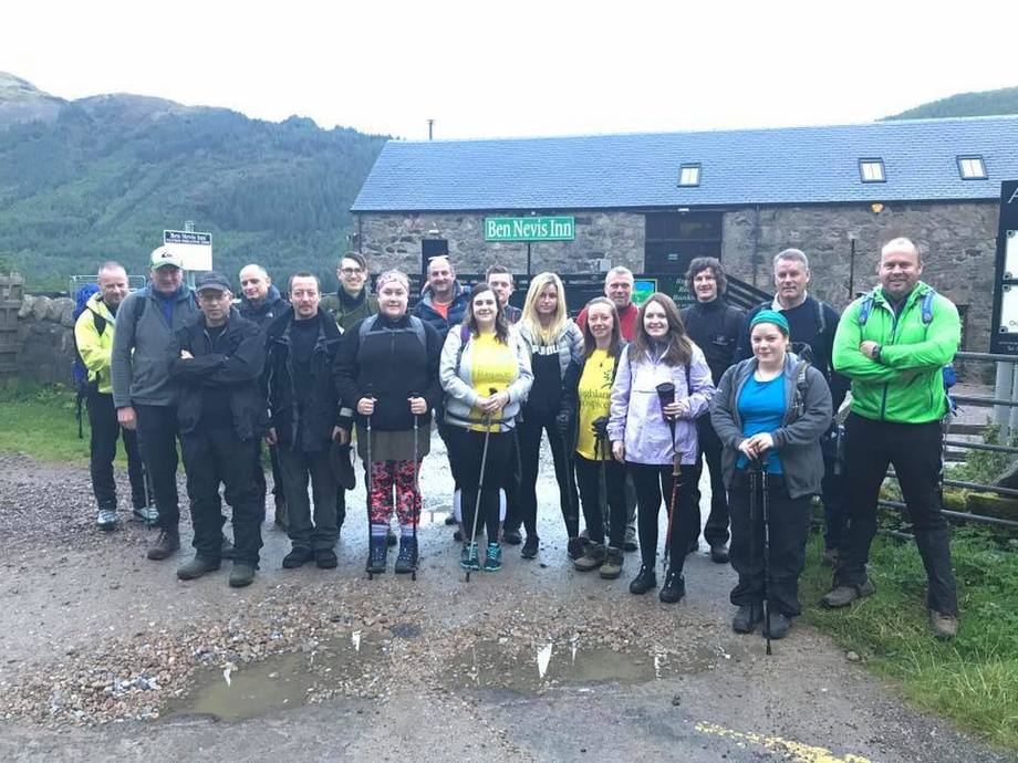 Summit to be proud of: Employees of Marine Harvest walked up Britain's highest mountain to raise money for the Highland Hospice. Photo: Marine Harvest