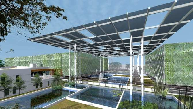 A computer generated image of the Floating Ponds vertical fish farm conceptualised by Surbana Jurong and Apollo Aquaculture Group. Their model of urban aquaculture has reported yields six times higher than traditional farming, using the same land area. Image: Surbana Jurong