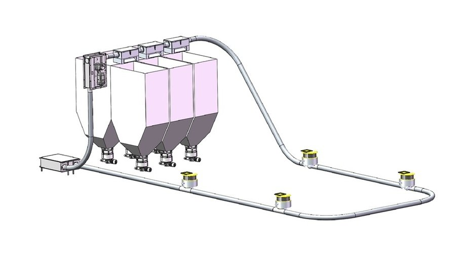 Diagram of AKVA's new Flexible Feeding system, which is undergoing testing and troubleshooting.