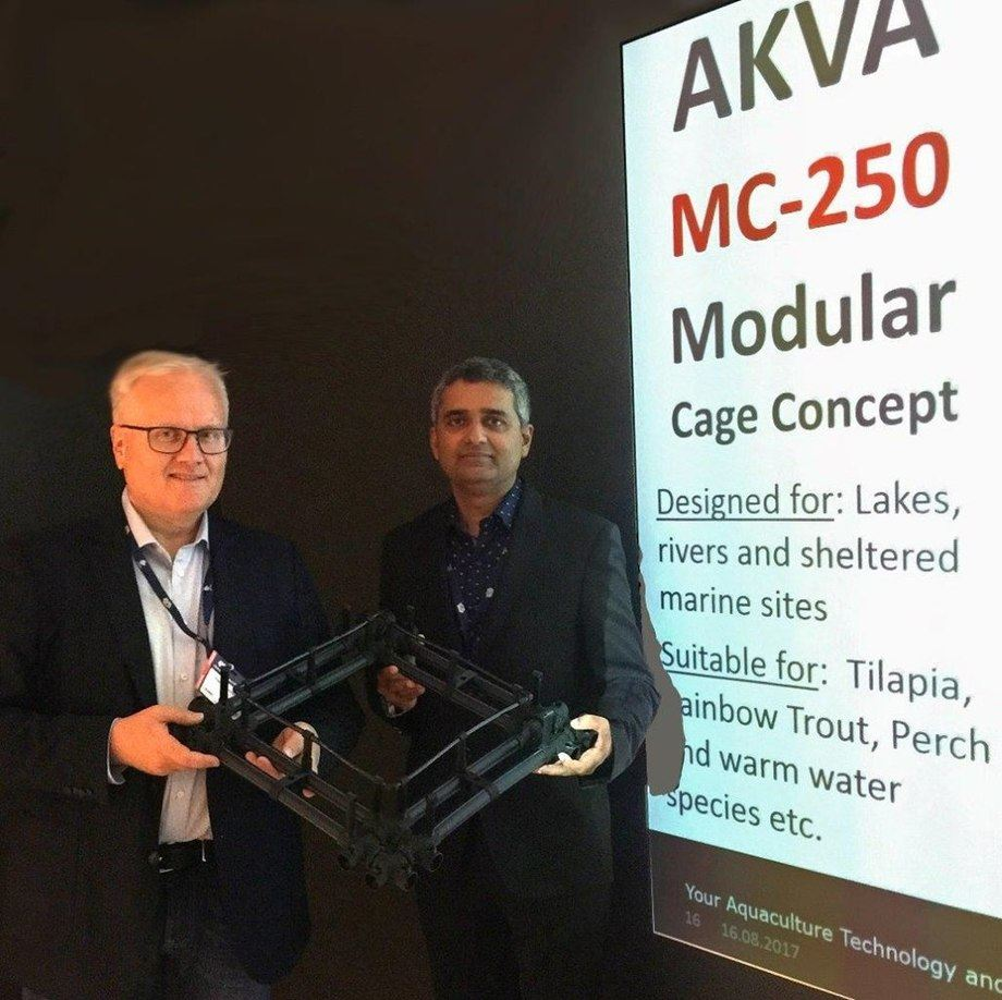 Trond Severinsen, AKVA group's Senior Vice President – Technology and Development, with Rahul Kulkarni, board director of West Coast and CEO of AquaMart.