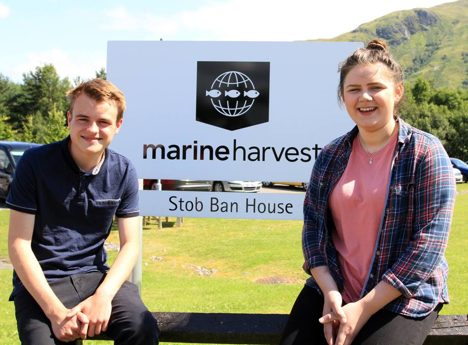 Tommy Chisholm, 16, and Emily Connolly, 18, have joined Marine Harvest as apprentices. Photo: MH Scotland