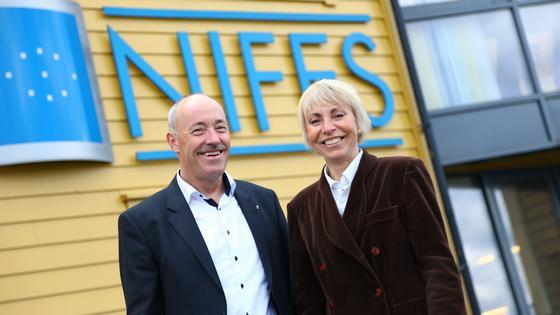 Ole Arve Misund, director general of NIFES, and Sissel Rogne, managing director of IMR.    Image: Erlend Astad Lorentzen