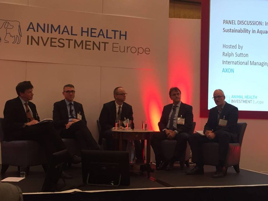 The aquaculture panel at the 2017 Animal Health Investment event. Image: Skretting.
