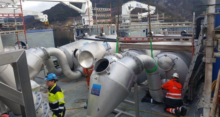 Installing Optilicers on   Bakkafrost's vessel