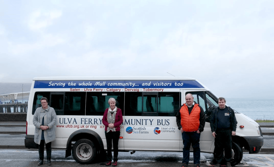 The Ulva Ferry Community Bus is a lifeline for islanders. Image: Scottish Sea Farms