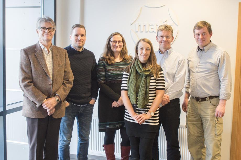 Left to right: Jón Árnason and Birgir Örn Smárason, Matis; Julie Maguire, Indigo Rock Marine Station; Alex Leeper, Matis; Robin Shields, SAIC and Knud Simonsen, Aquaculture Research Station of the Faroes. Image: SAIC.