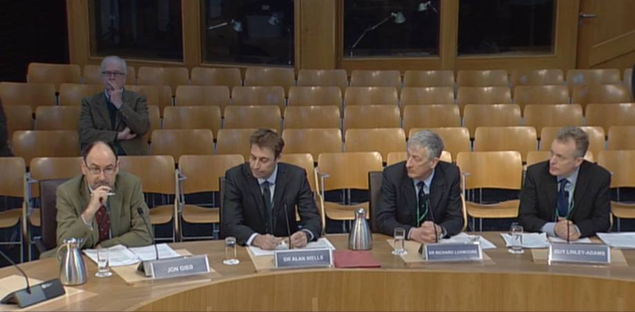 From left: Jon Gibb, Alan Wells, Richard Luxmoore and Guy Linley-Adams give evidence at Holyrood.