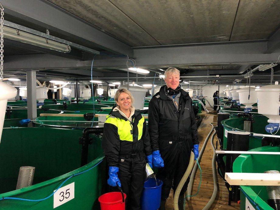 Driftsleder Kari Anne Sætherbø og avdelingsleder for påvekst Geir Hafsås ved Lumarines rognkjeksanlegg. Foto: Lumarine AS.
