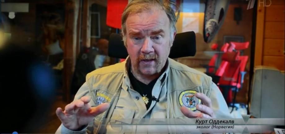 Kurt Oddekalv fra i skjermdump fra russisk Tv program.