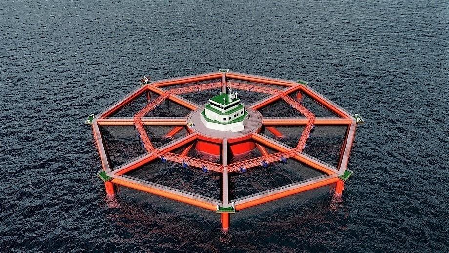 Ilustración de cómo podría verse la Smart Fish Farm. Foto: SalMar.