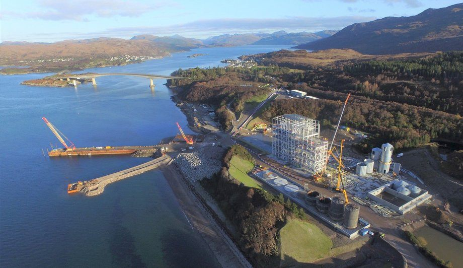 The Kyleakin feed plant, pictured at an earlier construction stage in November, is running over budget. Photo: Marine Harvest