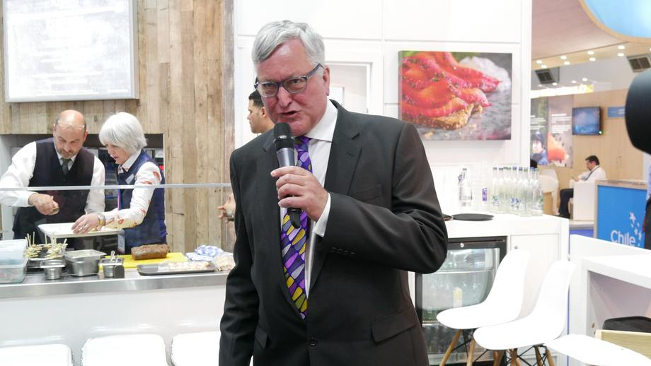 Fergus Ewing speaking the Seafood Expo Global in Brussels, where he backed salmon farming's expansion plans. Photo: FFE