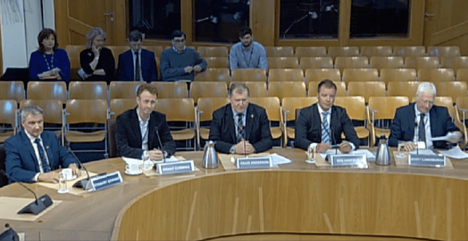 From left, Gael Force MD Stewart Graham, Grieg Seafood Shetland chief Grant Cumming, Scottish Salmon Company MD Craig Anderson, Marine Harvest Scotland boss Ben Hadfield and former SSPO chief Scott Landsburgh give evidence to the REC committee inquiry.