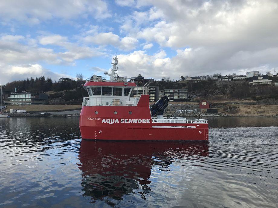 Det nye fartøyet som har fått navnet «Aqua King» er av typen HFMV W12 Sørfonn. Foto: Fitjar Mek. Verksted