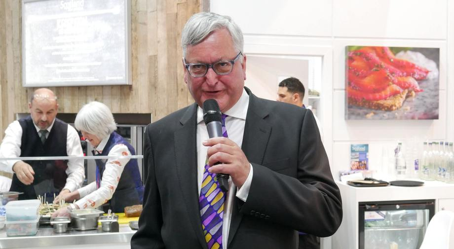 Fergus Ewing, pictured speaking at the Seafood Expo Global in Brussels, will open Aquaculture UK 2018. Photo: FFE