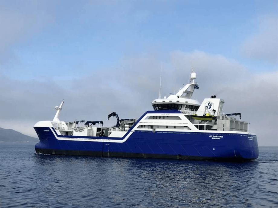 Rosteins nye brønnbåt Ro Fortune ute på testtur 15. mai. Foto: Rostein.