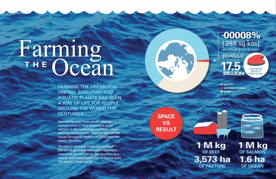 The updated report is packed with statistics about the efficiency and benefits of salmon farming.