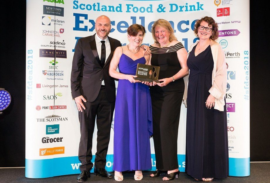 From left: Awards host Simon Rimmer, Fiona Larkin and Su Cox of SSC, and award sponsor Ceri Ritchie (Connect Local). Photo: SSC