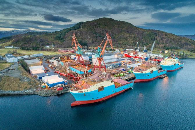 det Hurtigruten-eide selskapet KVE Holding AS tar over 100 prosent av aksjene i Kleven Verft AS, Kleven Maritime Contracting AS og Kleven Maritime Technology AS.  Foto: Kleven