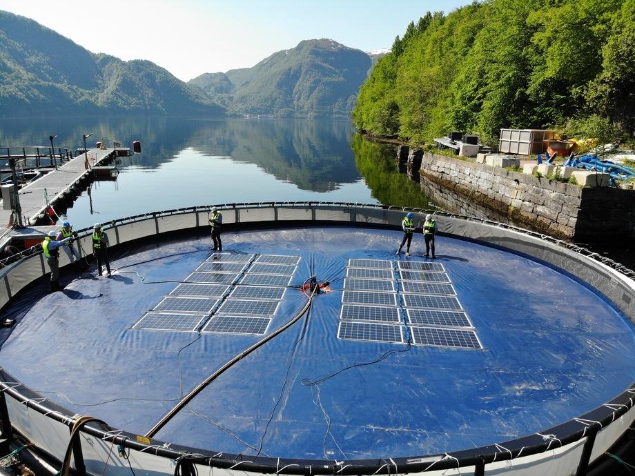 Testanlegget sett fra luften. Alle lokalsjoner med mye vann egener seg godt for denne typen soleneri-produksjon. Foto: Børge Bjørneklett