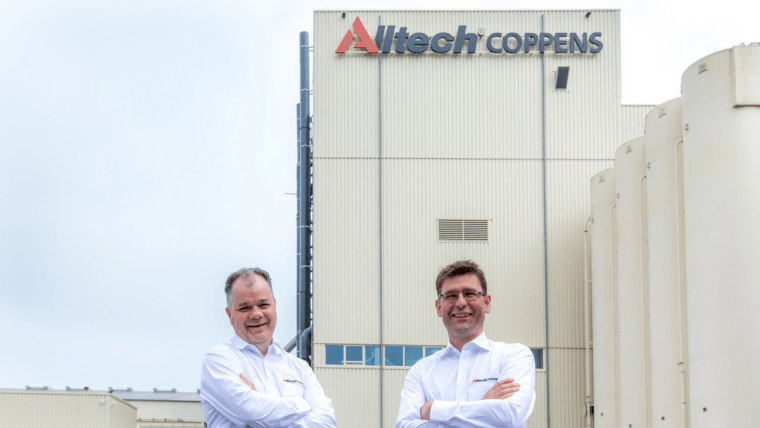 Patrick Charlton, CEO of Alltech Coppens, left, with chief commercial officer Ronald Faber, at the re-branded Leende factory.