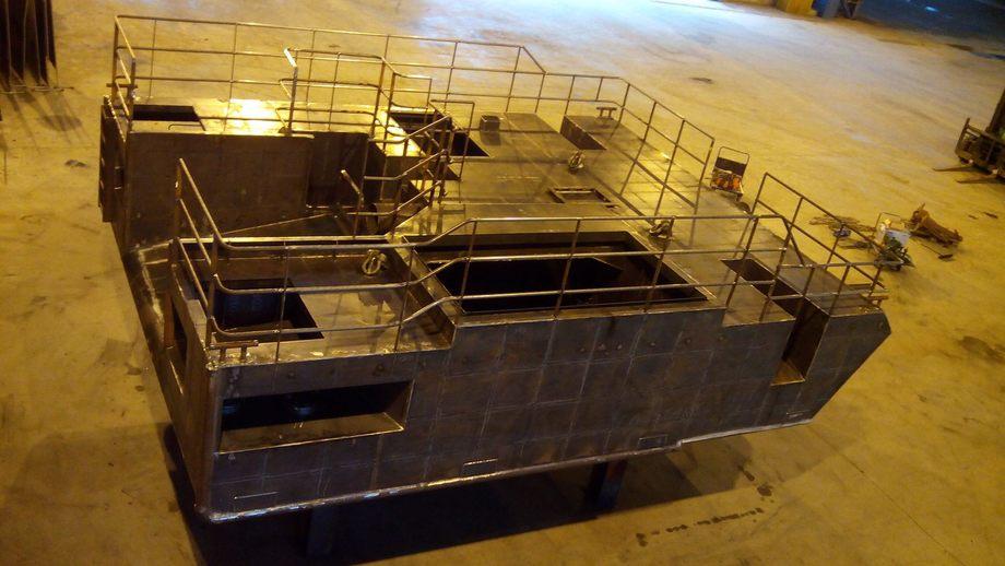 Bildet er fra Kongsberg Skipsservice sitt anlegg der de blant annet bygger aluminiumsskrog. Foto: Kongsberg Skipsservice.
