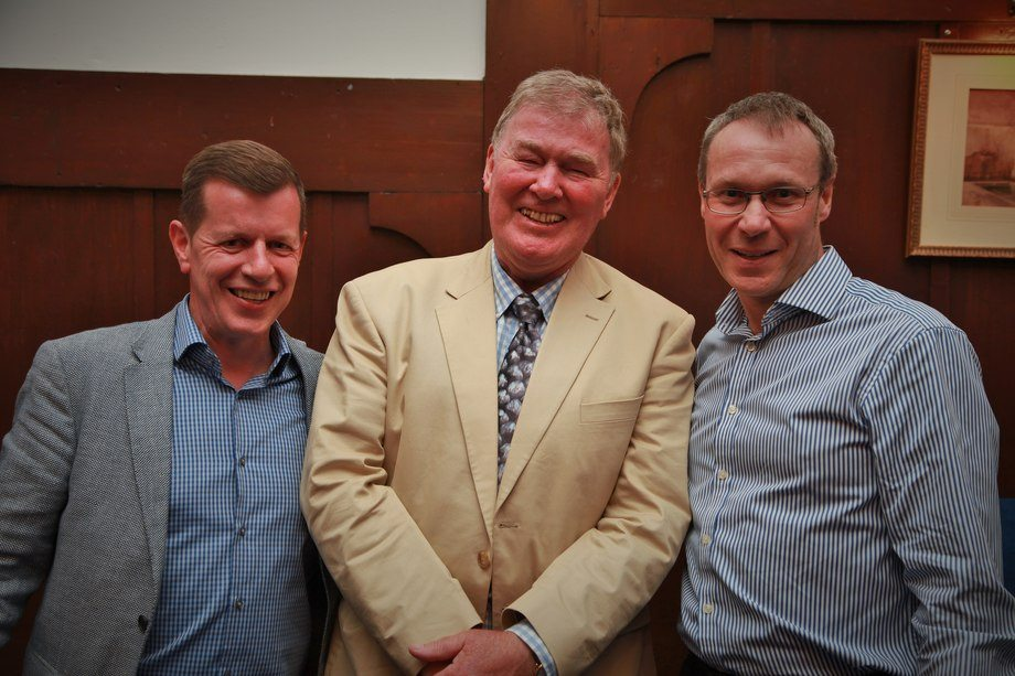 Scottish Sea Farms veteran, Geoff Kidd, centre, with MD Jim Gallagher, left,  and production manager John Rea. Photo: SSF