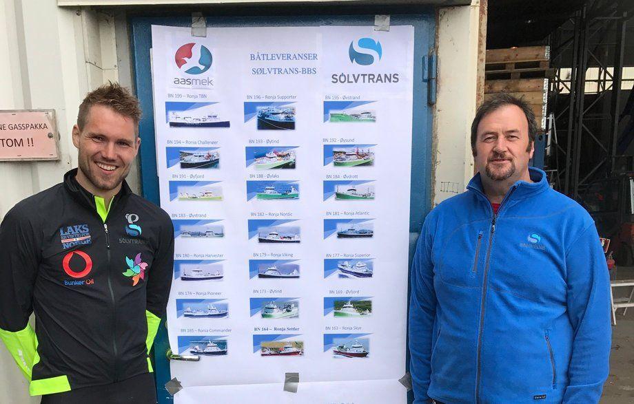 Robin Halsebakk og Petter Gunnarstein i rederiet Sølvtrans skal denne gang ro for kreftsaken. I fjor samlet de to inn hele 1 020 000 kroner til Kreftforeningen. Foto: Andrea Bærland.