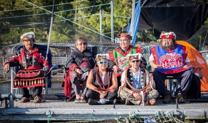 First Nations protesters occupying Swanson Island farm. Photo: Sea Shepherd