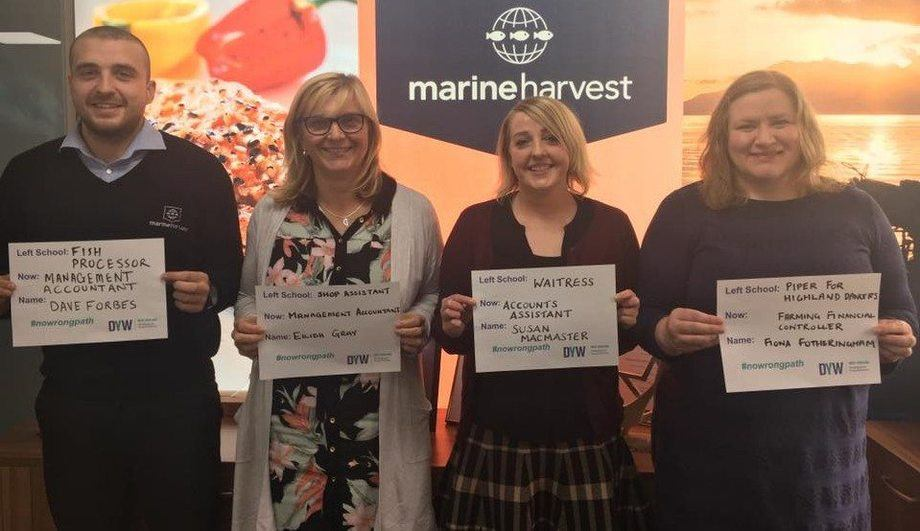 Members of Marine Harvest's accounts team show there is No Wrong Path for those starting out in the world of work. Photo: MH Scotland