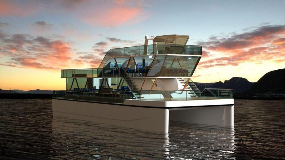 Den elektriske katamaraenen «Brim» skal kunne bruke eksisterende ladeinfrastruktur, slik at det ikke er behov for store investeringer i havnene. Illustrasjon: Green Wave Holding AS