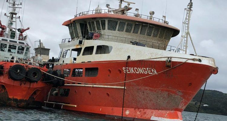 The Seikongen has been re-floated but there have been problems finding somewhere to dispose of its cargo. Photo: Puerto Montt authority.