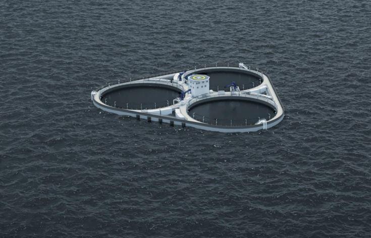 ØyMerd, den nye oppdrettsplatformen til Astafjord Ocean Salmon i betong skal tåle bølger opp mot tolv meter. Foto: Bemlotek.