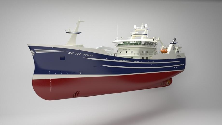 Byggenummer 453 skal hete «BÖRKUR» og eies av Sildarvinnslan. Illustrasjon: Karstensen Shipyard