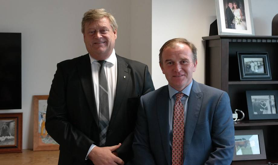 Norwegian fisheries minister Harald T Nesvik, left, met UK agriculture, fisheries and food minister George Eustice in London. Photo: Norwegian Ministry of Food and Fisheries