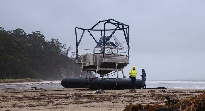 The feed buoy which broke open a Huon cage before being washed ashore. Photo: ABC News: Ellen Coulter