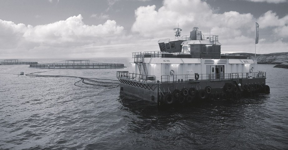 AKVA makes a variety of feed barge models, and will supply at least eight to Grieg NL. Photo: AKVA
