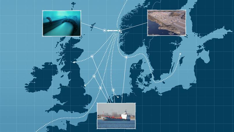 Planen er at CO2 skal fraktes med skip fra fangstanleggene i Brevik og Oslo og til et landanlegg på Kollsnes nord for Bergen. Etter mellomlagring skal CO2en føres i en rørledning ut til lagring i en geologisk formasjon langt under havbunnen ved Trollfeltet i Nordsjøen. Equinor, med partnerne Shell og Total, er ansvarlig for planleggingen av lageret, og deres konseptstudie ferdigstilles i løpet av året. Illustrasjon: Gassnova