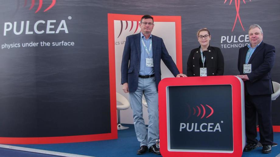 From left: Pulcea managing director Ian Armstrong, volunteer helper Kloe Lynas and technical director Ian Jamieson on the company's stand at Aquaculture UK in Aviemore in May. Photo: Pulcea.