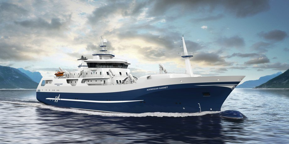 «Norwegian Gannet» overleveringen er utsatt en måned, og nå fokuseres det på å få båten best mulig. Fotoillustrasjon: Hav Line.