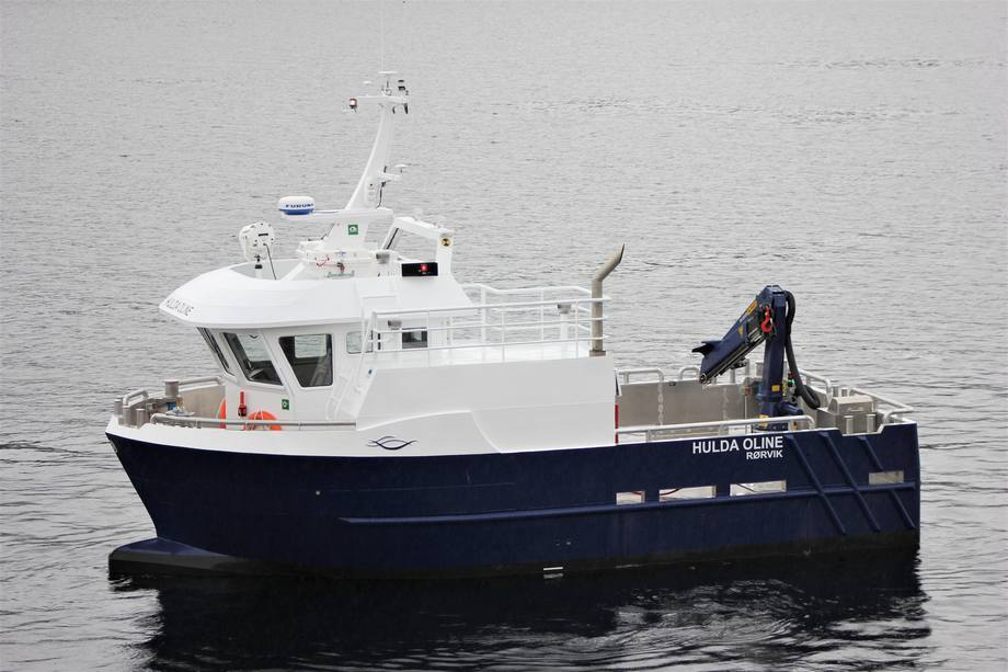 Salmonor har fått sin nyeste tilskudd i flåten og navnet på båten er HULDA OLINE. Foto: Moen Marin AS.